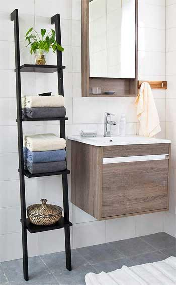Leaning Bathroom Ladder Shelf The Easy Storage Solution
